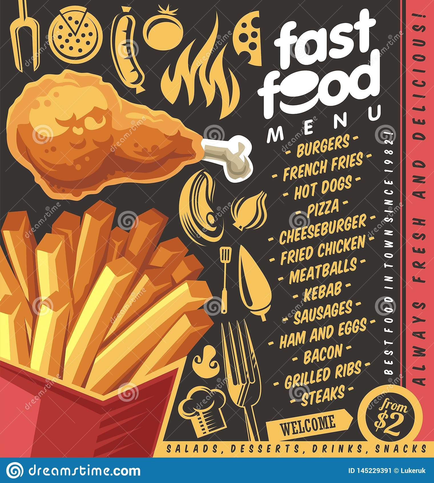 Fast Food Restaurant Menu Design With French Fries And Fried