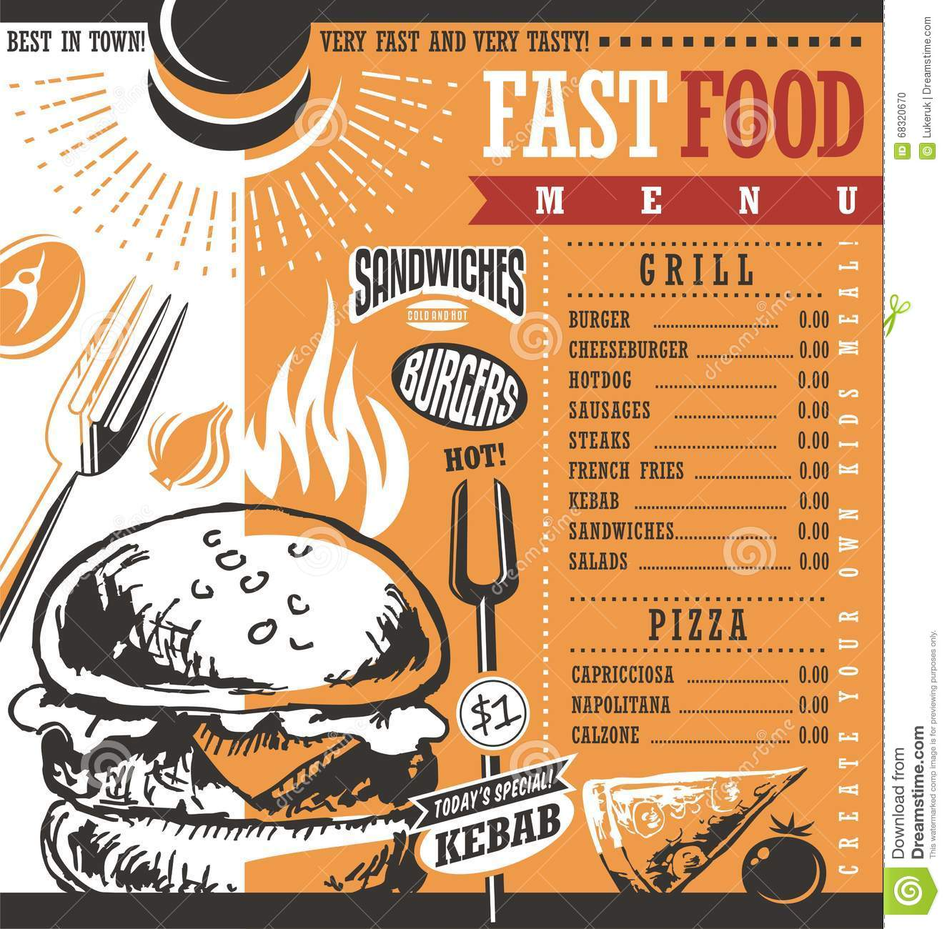 Price for a poster design - Fast Food Restaurant Menu Design Stock Photo