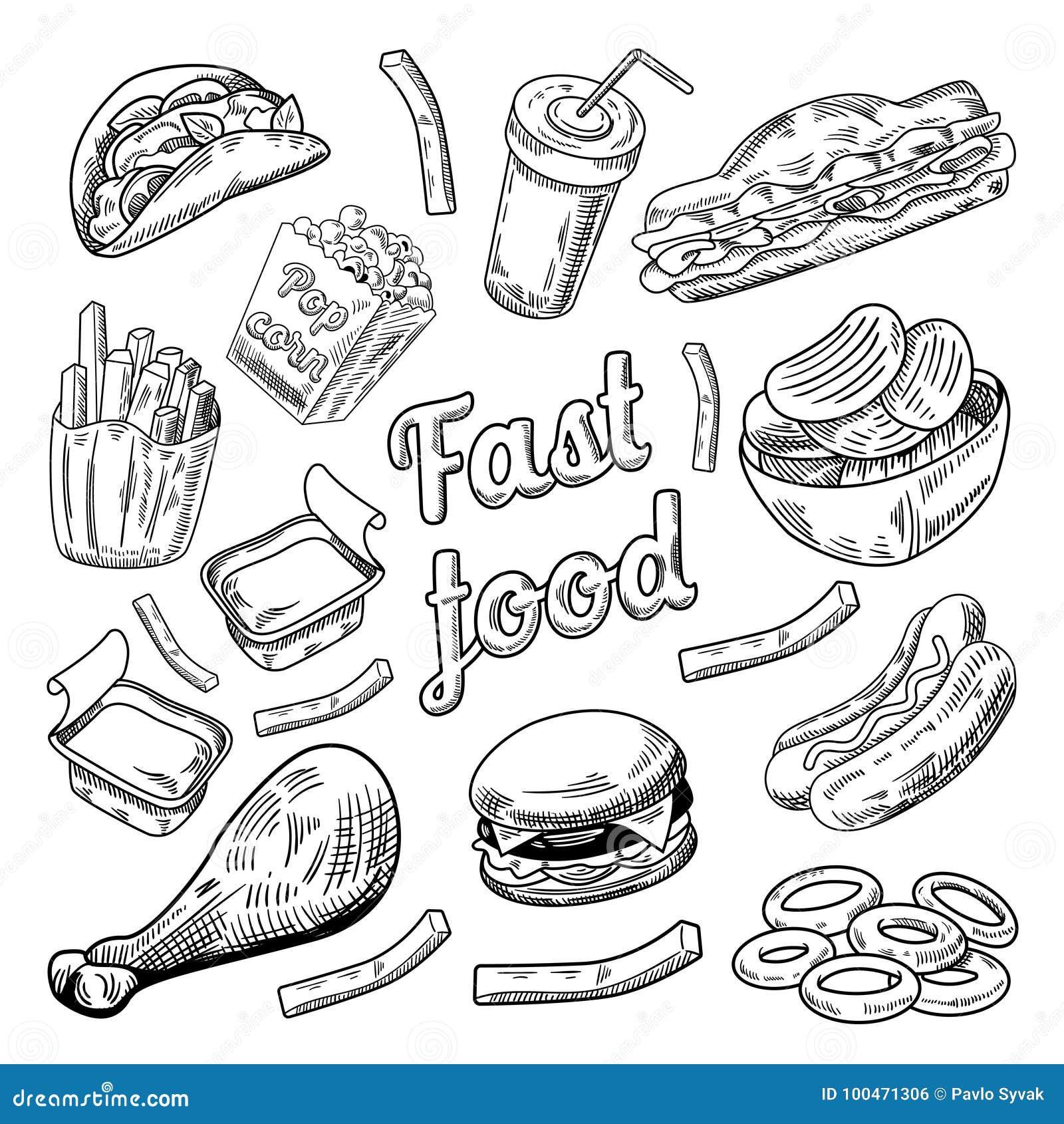 a89ca943bdde Royalty-Free Vector. Fast Food Restaurant Menu. Hand Drawn Sketch Burger  French Fries Hot Dog