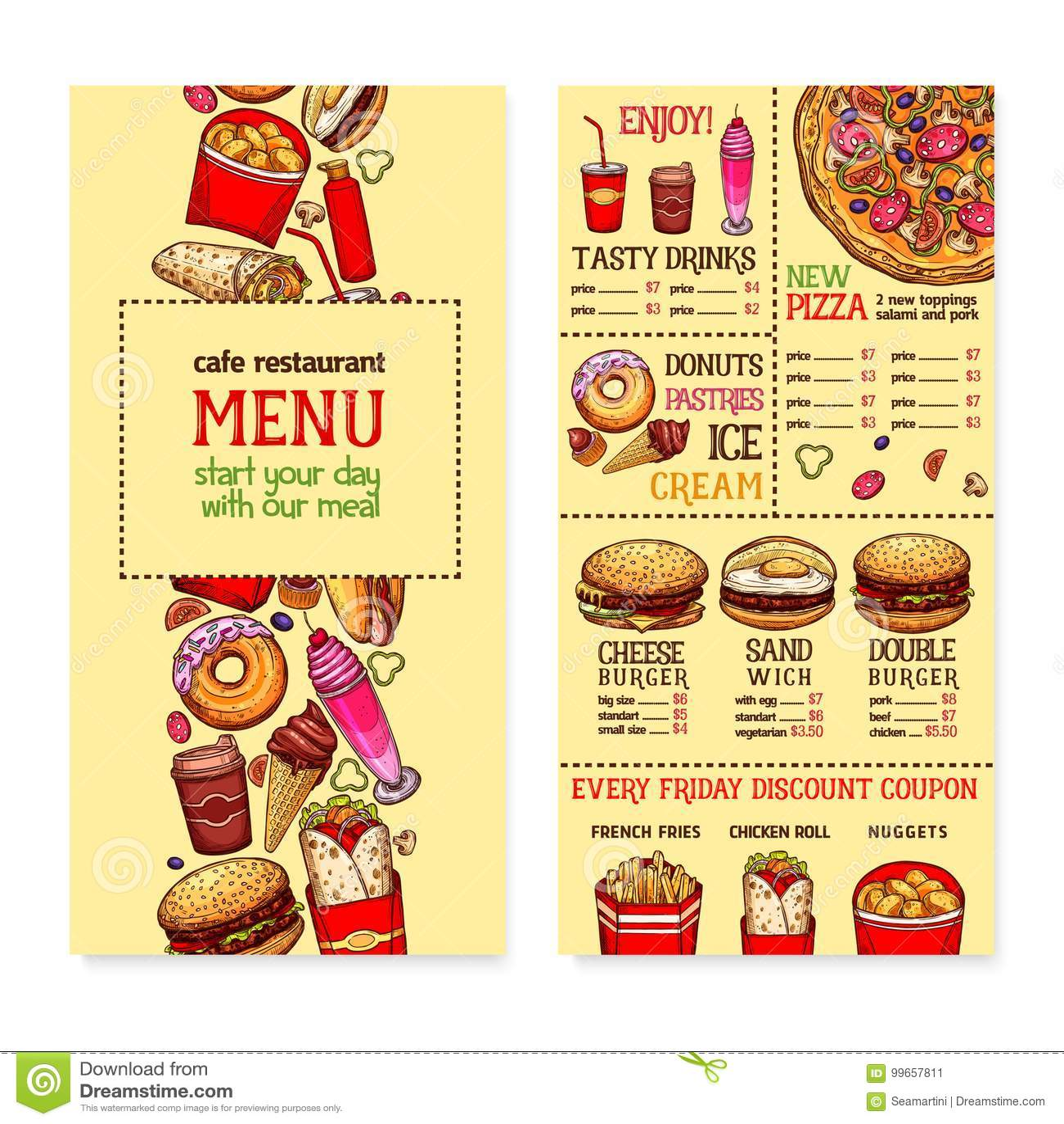 Fast Food Restaurant Menu Template Stock Vector Illustration Of