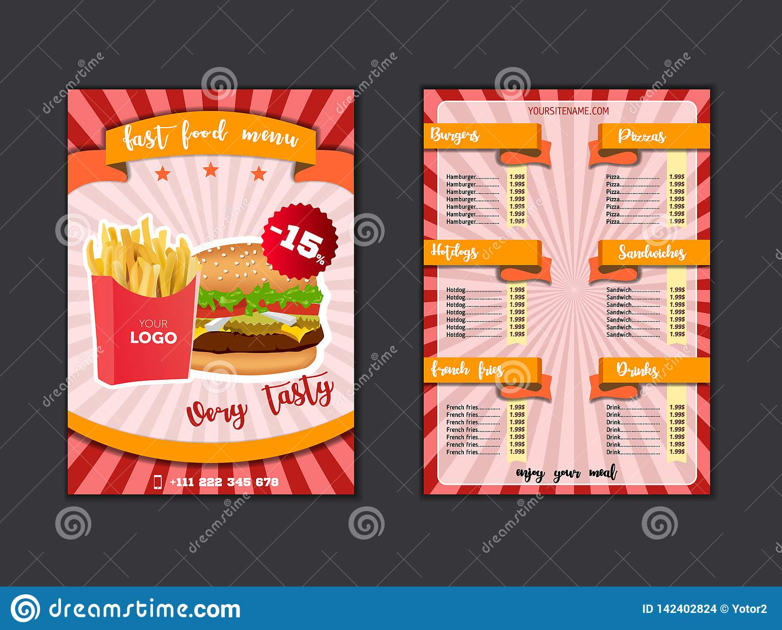 Fast Food Restaurant Menu Template Lunch Dishes And Drinks List With Prices And Burger Pizza Hot Dog Soda Fries Coffee Stock Illustration Illustration Of Fast Cooking 142402824