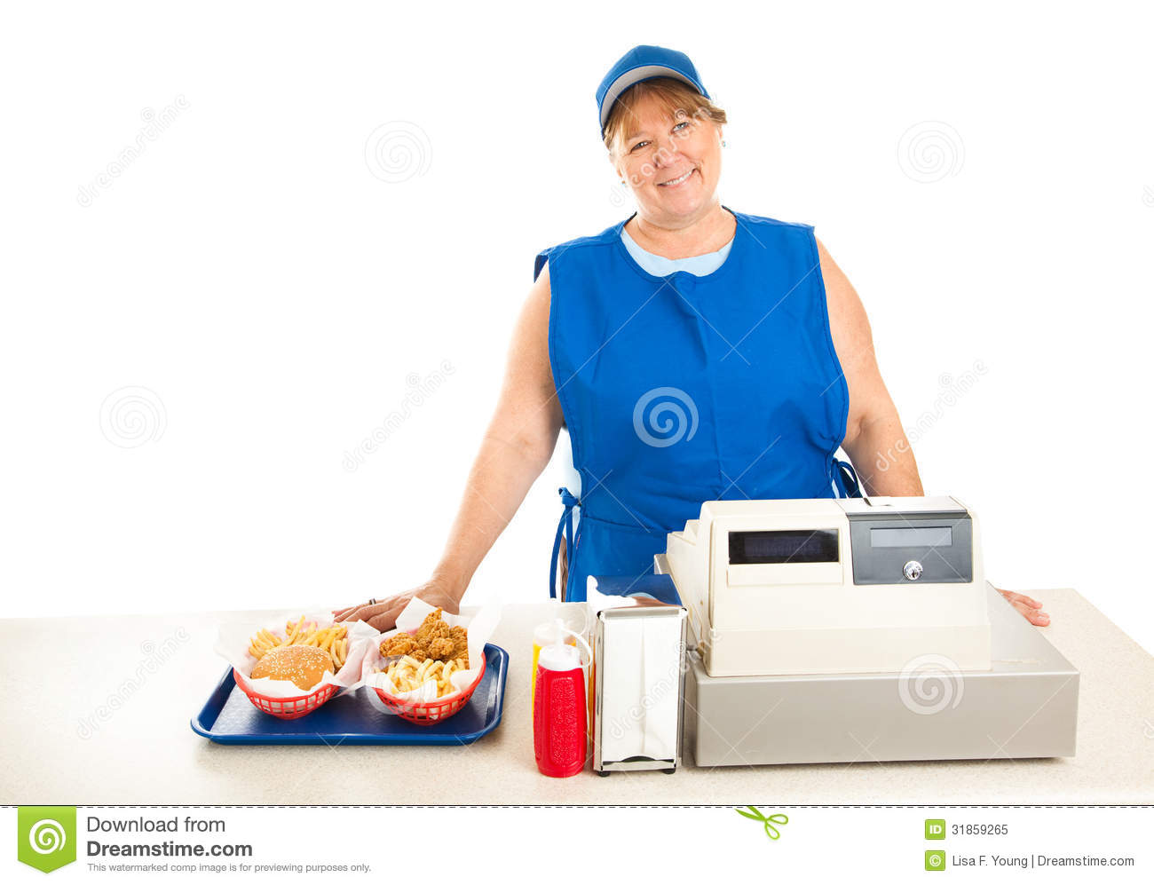 Fast food worker on her knees in the bathroom 2