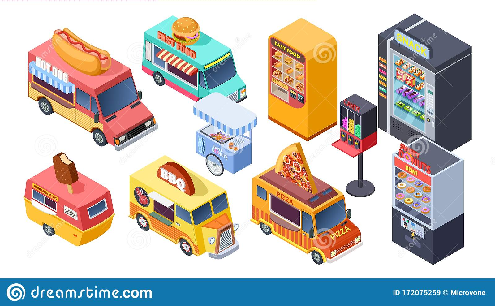 Fast Food Sale Isometric Vending Machine Street Food Trucks And Carts Selling Hot Dogs Pizza Snacks 3d Isolated Stock Vector Illustration Of Fast Icon 172075259