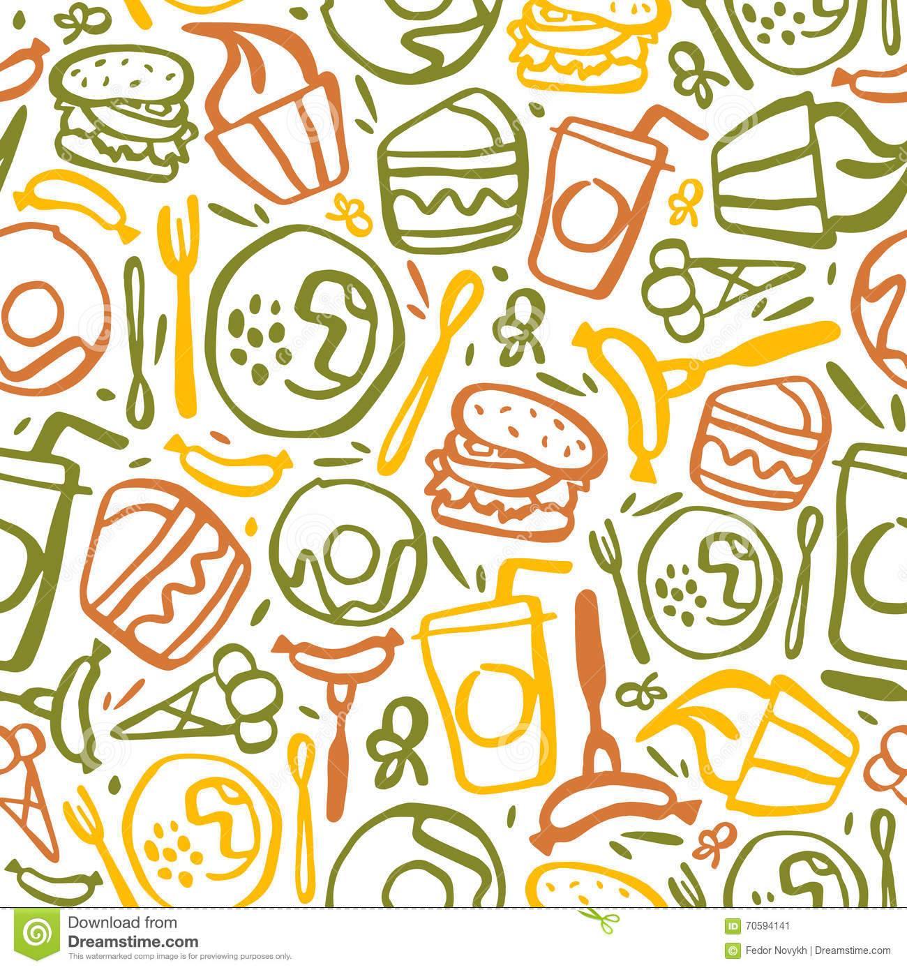 Fast Food Seamless Pattern Stock Vector Image Of Bakery