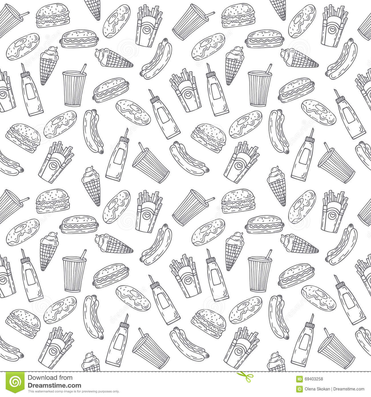 fast food seamless pattern hand drawn food background backgrou