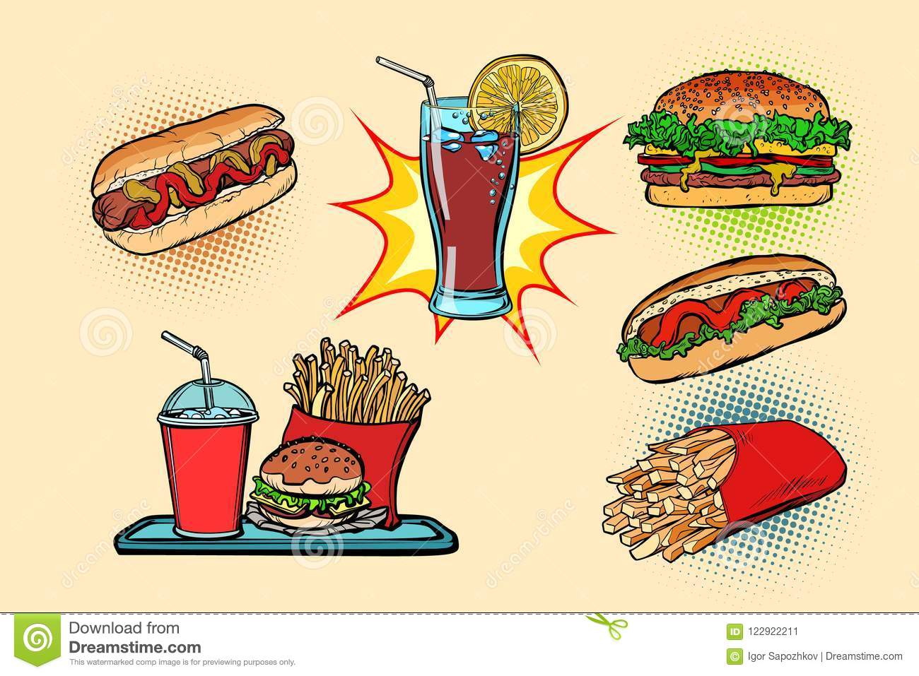 Fast Food Set Collection Hot Dog Burger Cola French Fries Drink