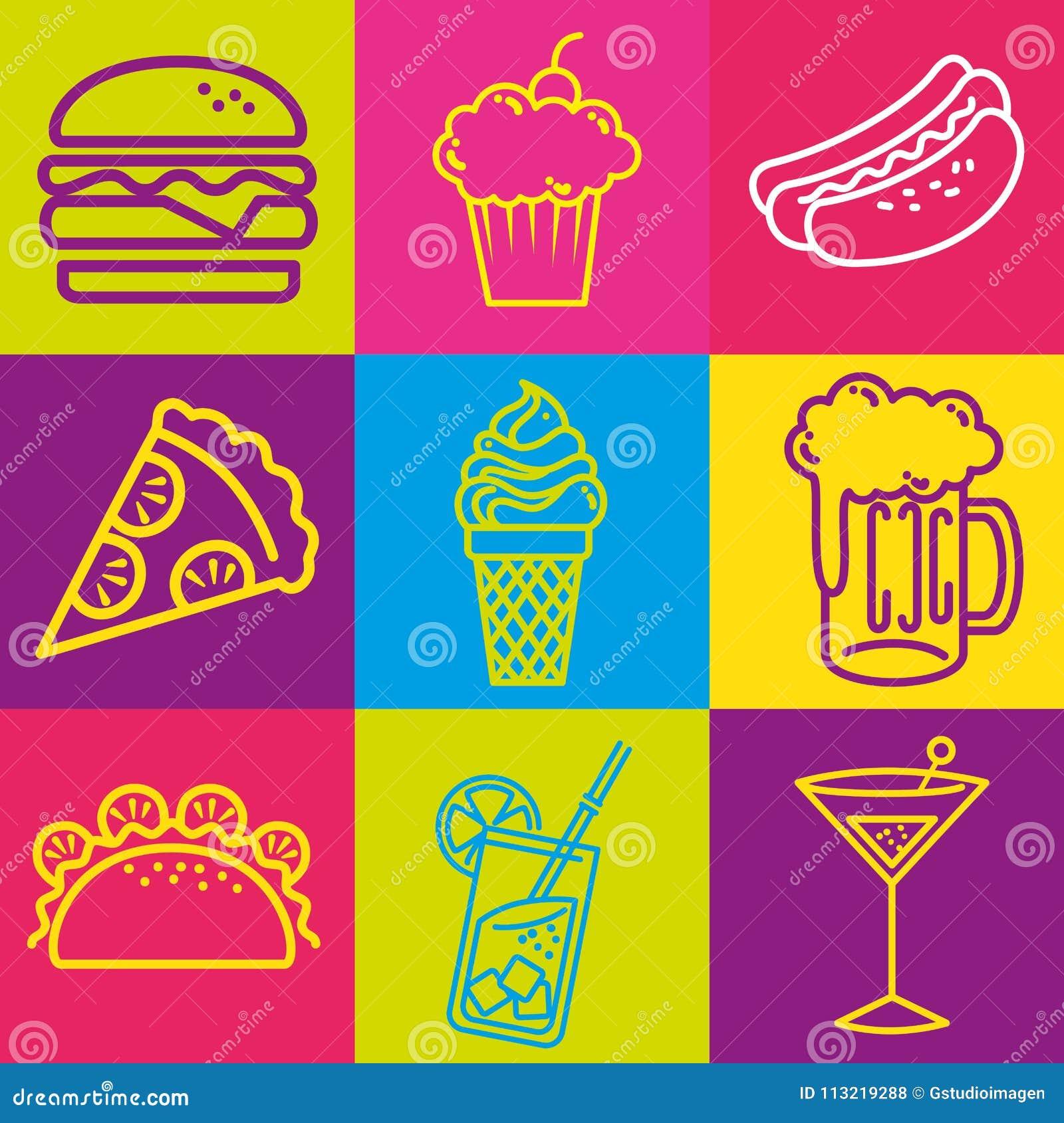 Fast food set icons