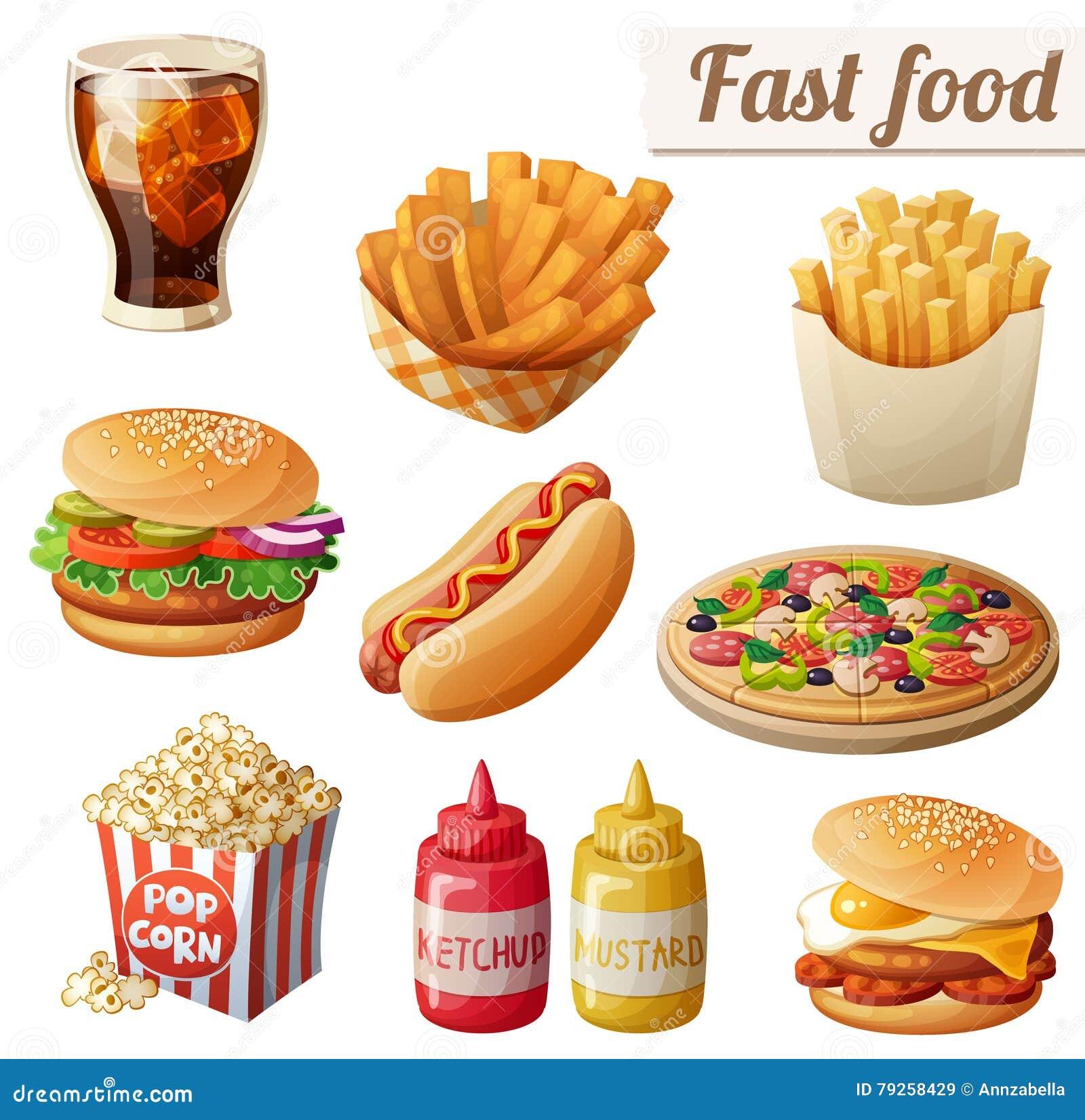 Fast food Set kreskówek wektorowe karmowe ikony odizolowywać na białym tle