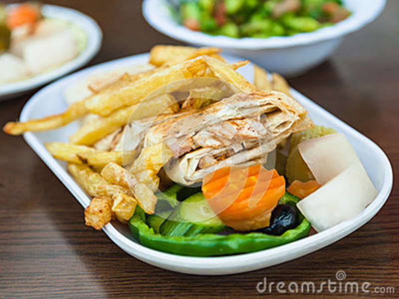 Fast Food Shawarma With Chicken Meat On Plate Stock Image Image Of
