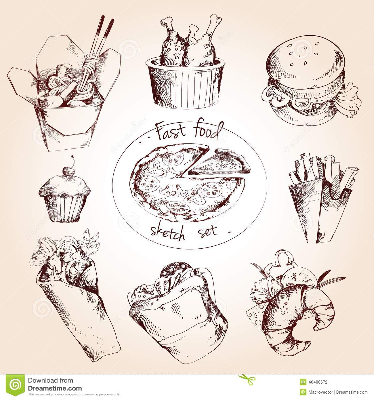 Fast Food Sketch Set Stock Vector. Illustration Of Icecream - 46486672