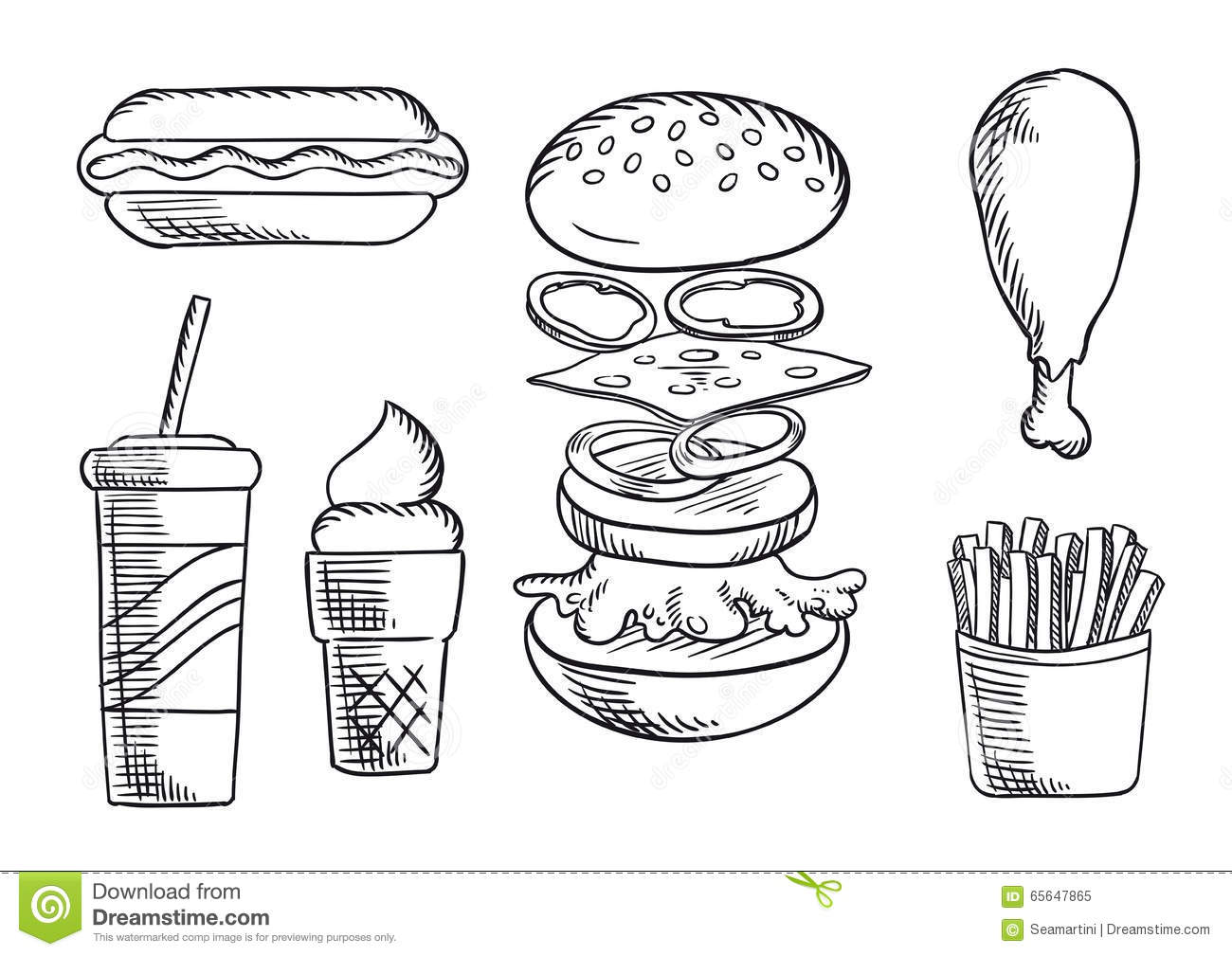 fast food menu stock vector