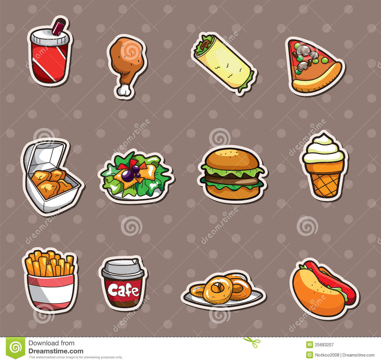 Fast Food Stickers Royalty Free Stock Photography