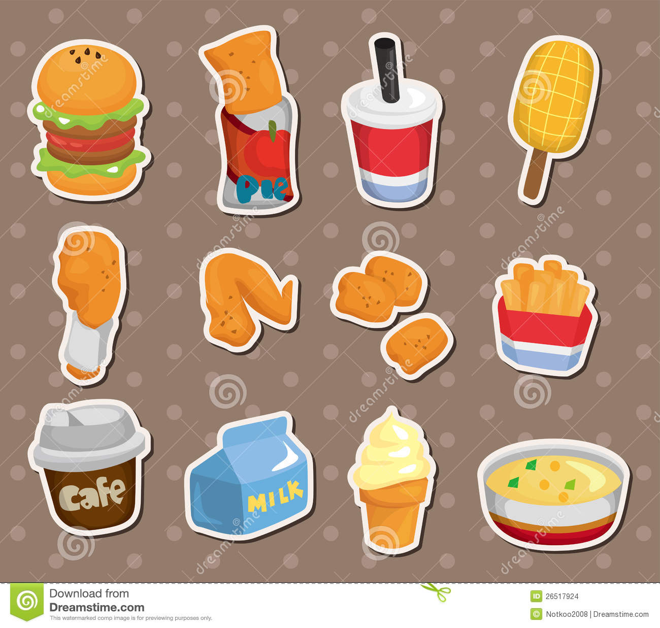 Fast Food Stickers Stock Images