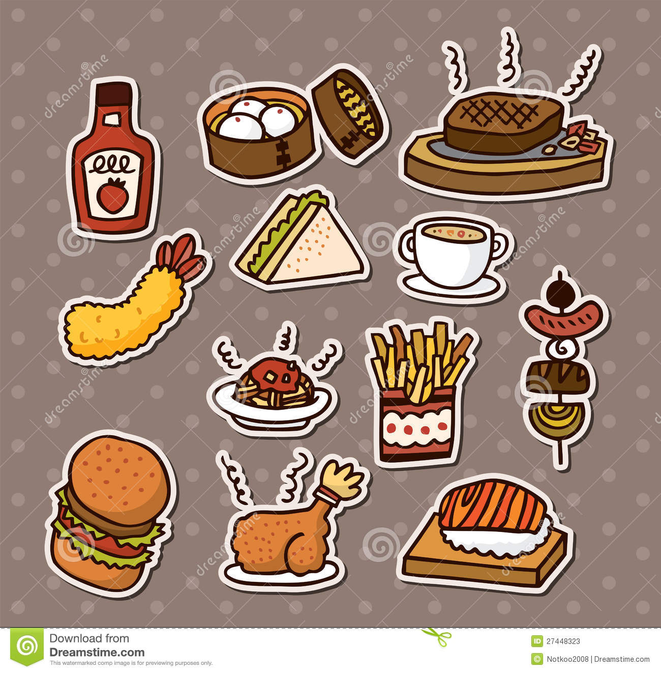 Fast Food Stickers Stock Vector  Illustration Of Beverage