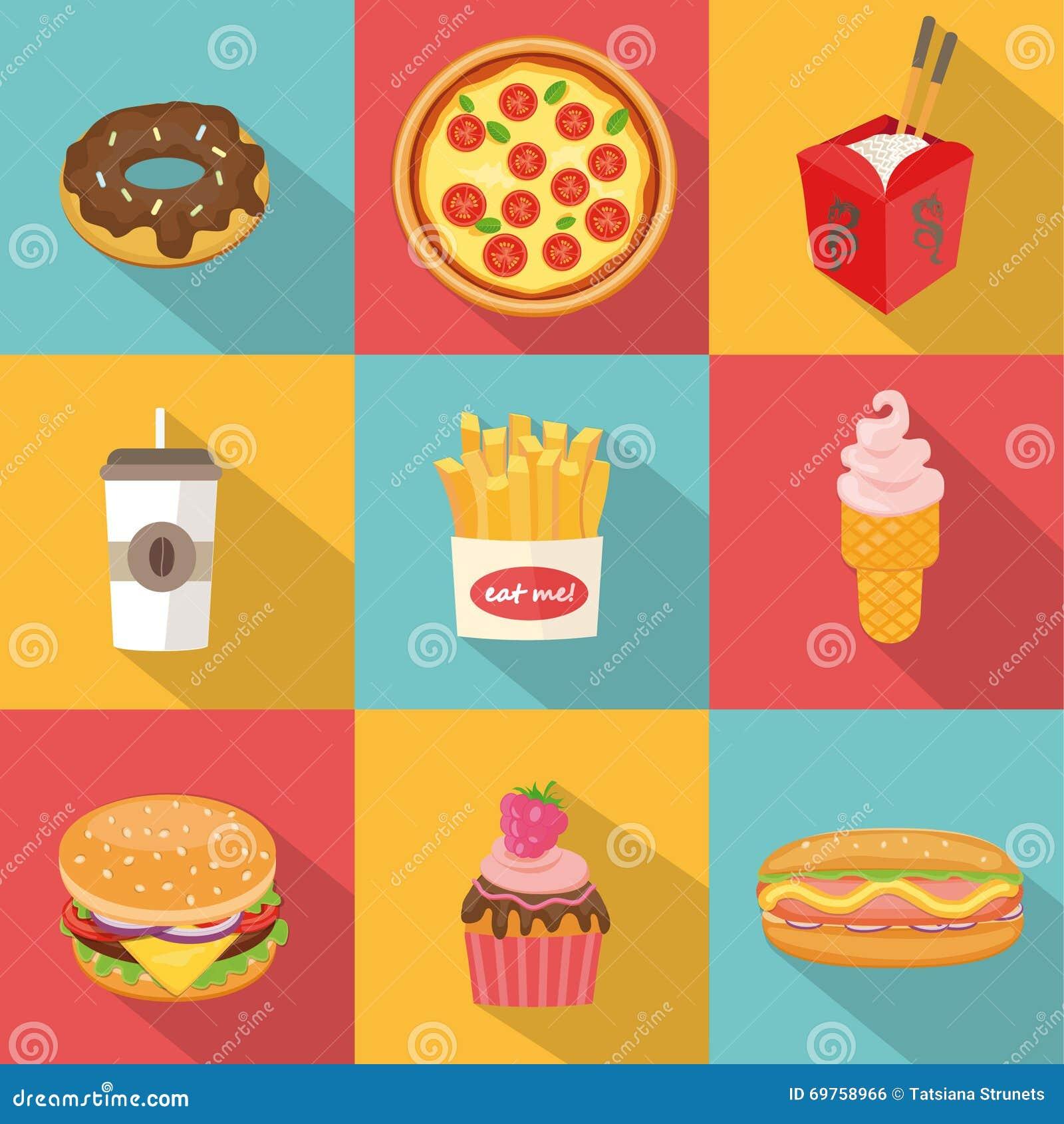 Fast Food Symbols Stock Vector Illustration Of Drinks 69758966