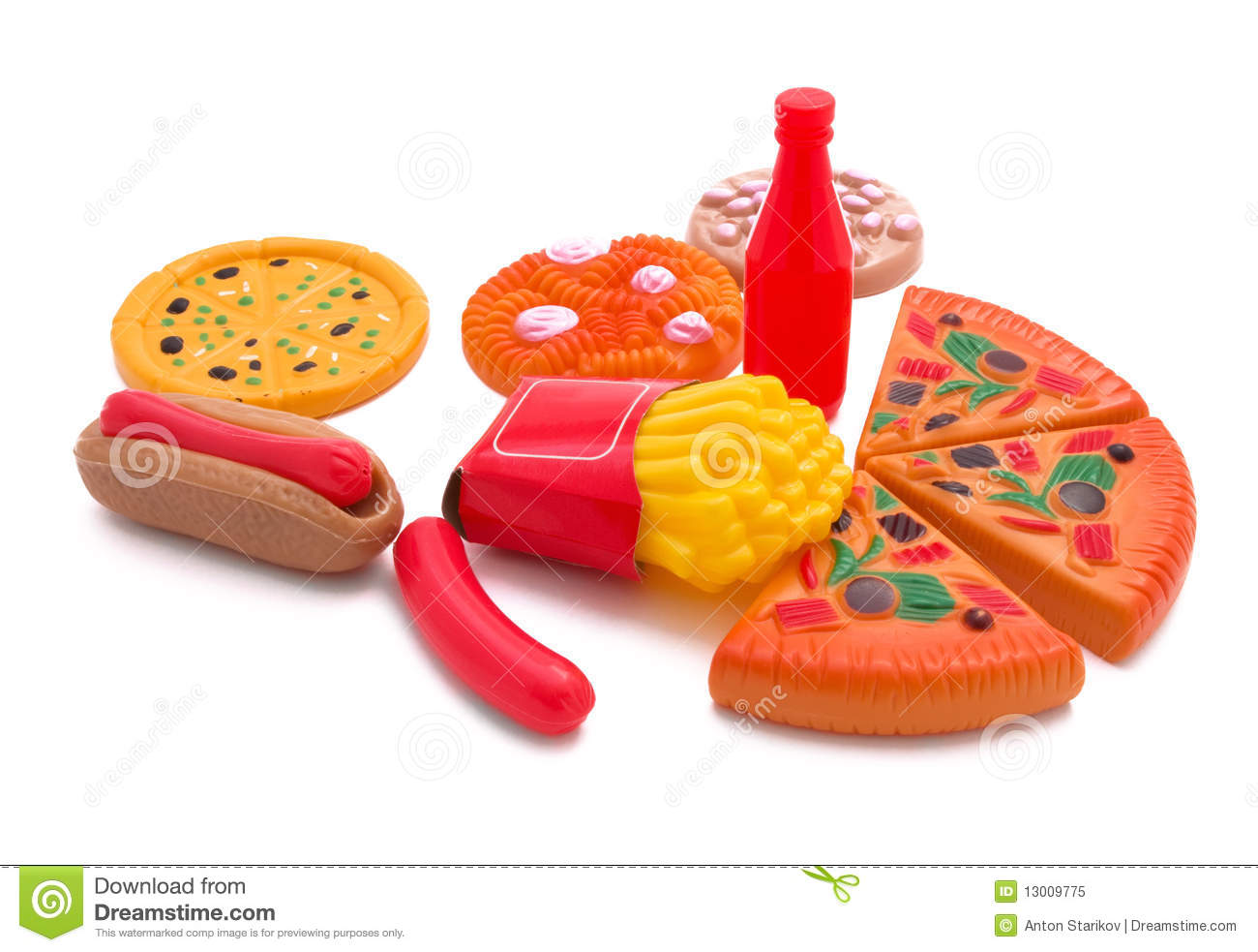 Fast Food Toys : Fast food toy stock image of play pizza sandwich