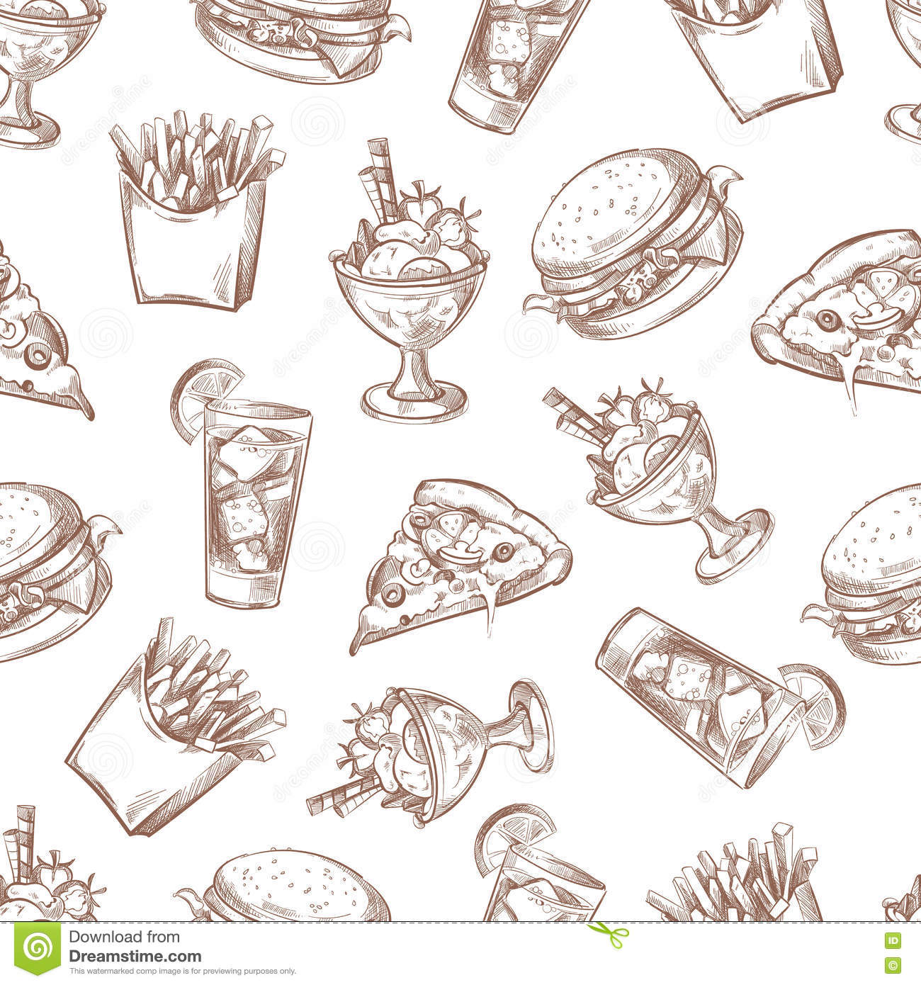 Fast Food Vector Seamless Background, Menu Pattern For Your