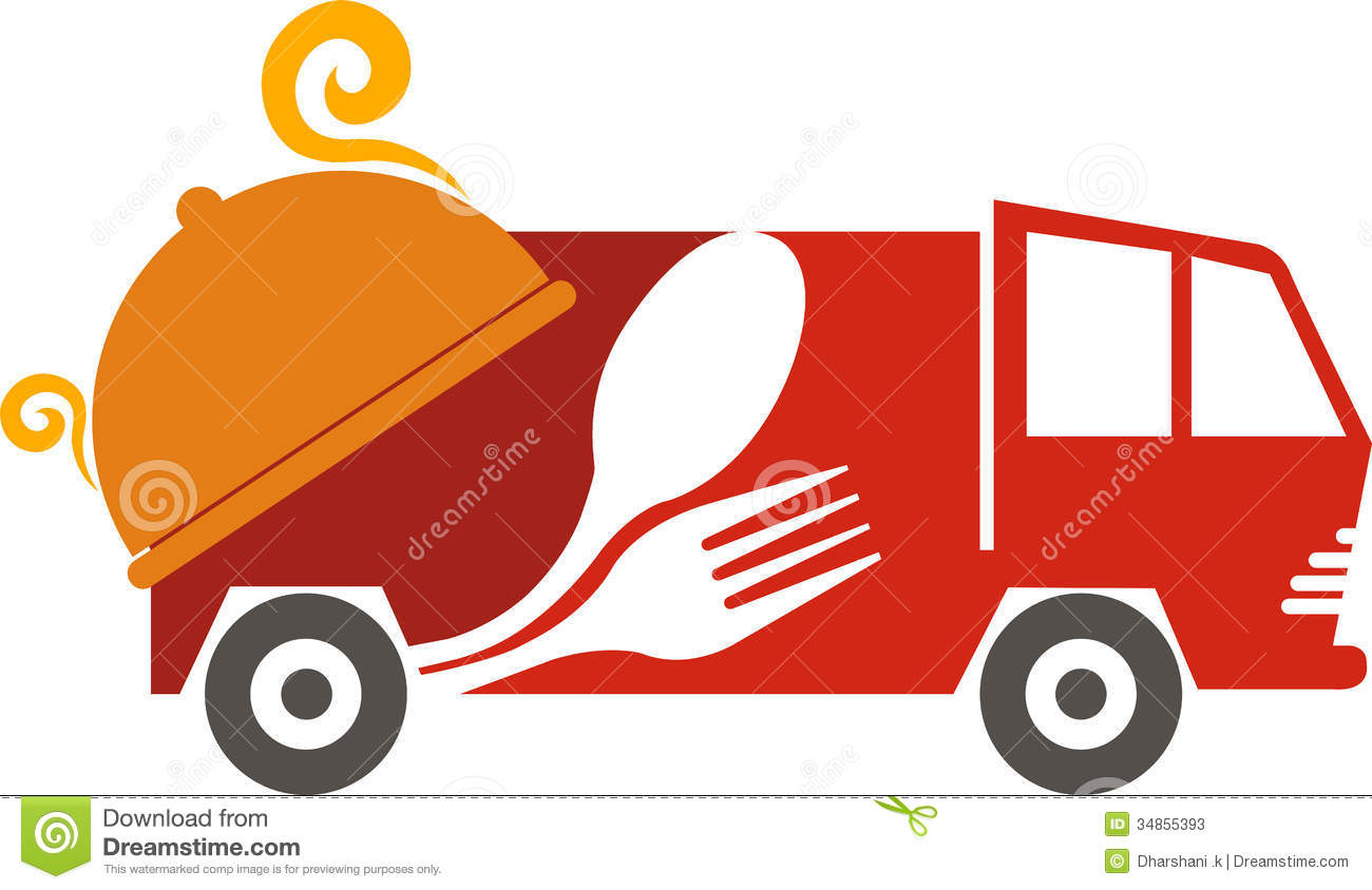 Illustration art of a fast food vehicle logo with isolated background.