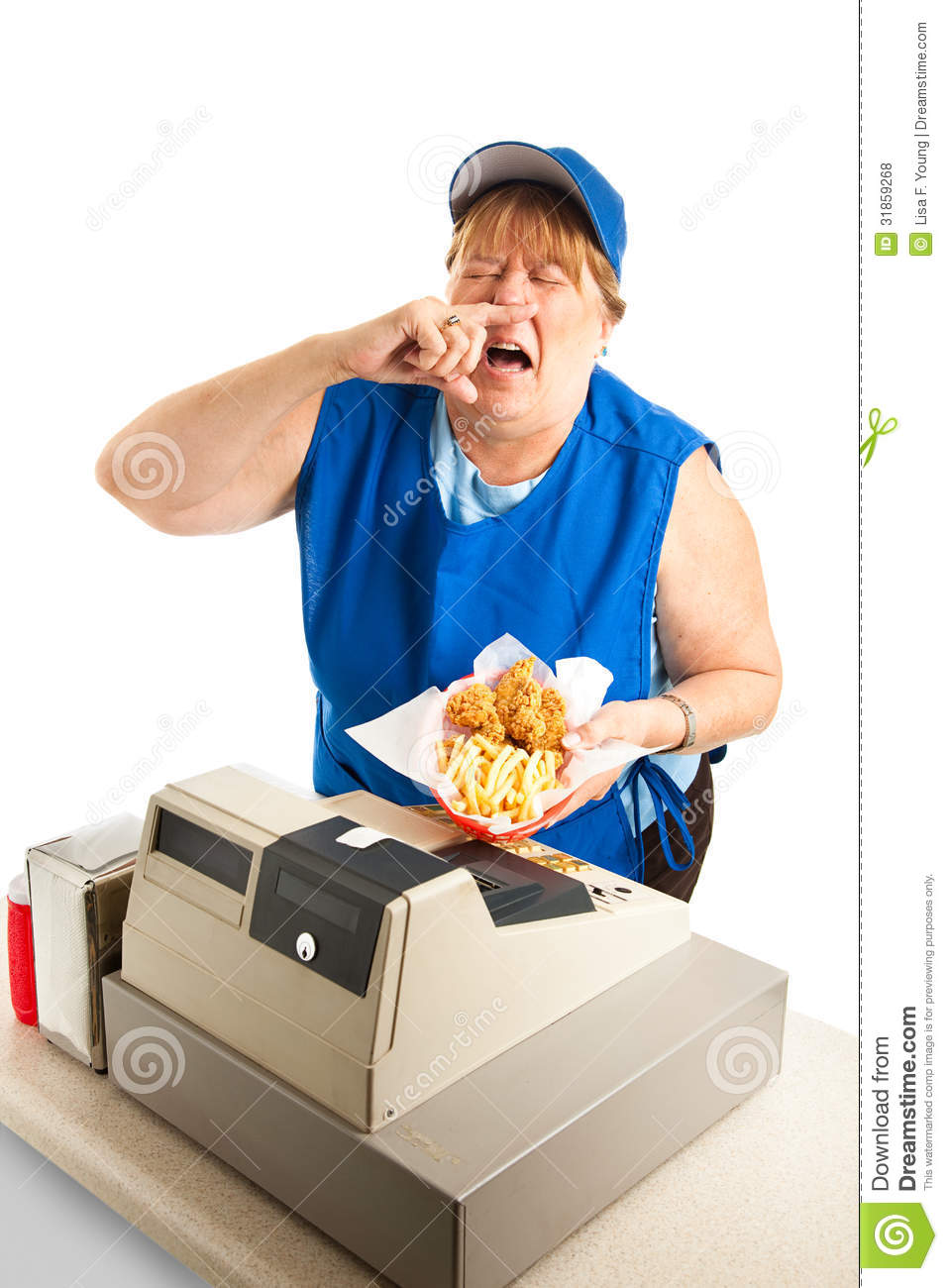 fast food worker sneezing on meal royalty free stock Sick Face Clip Art picture of sick person clipart