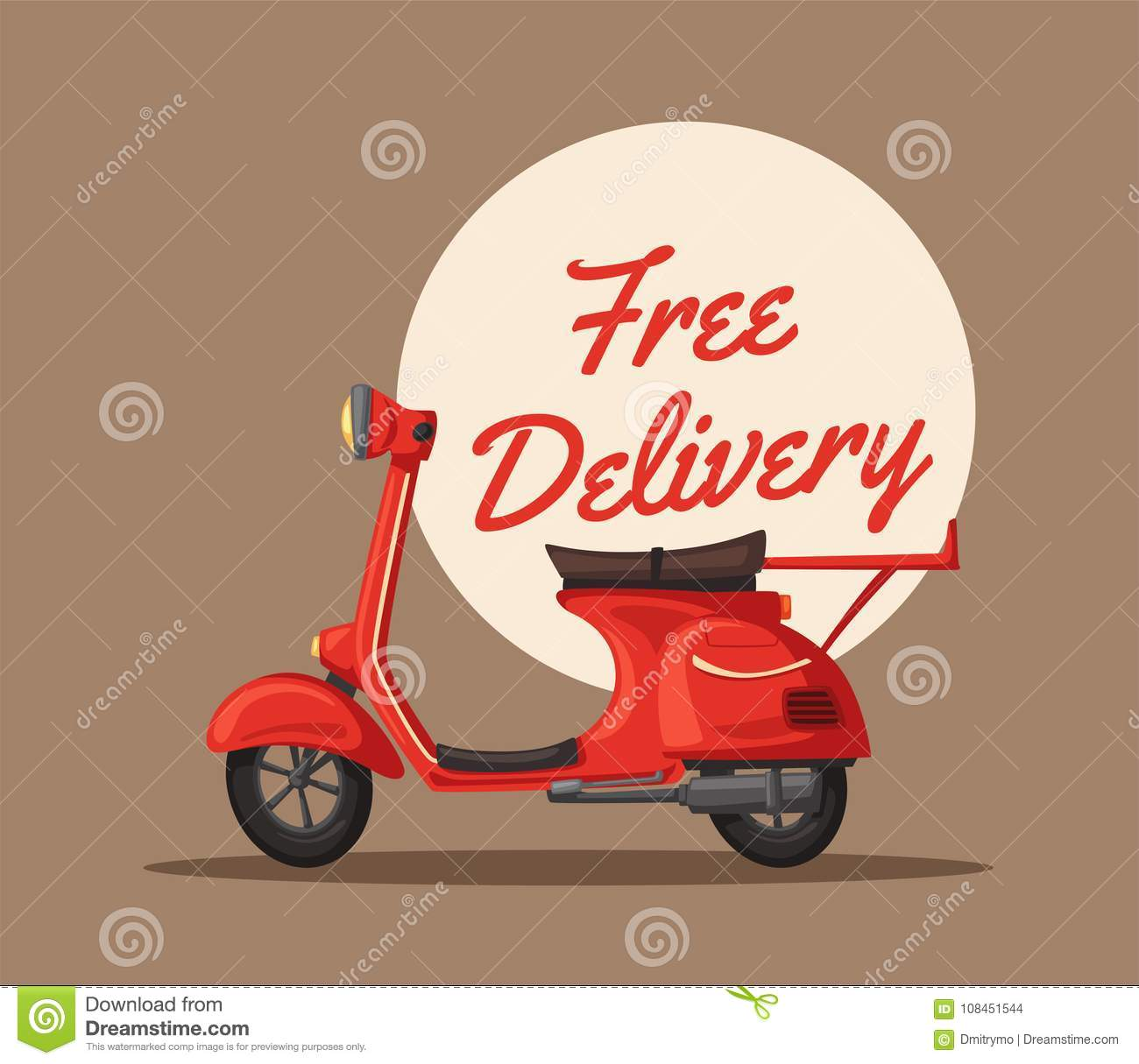 fast and free delivery vector cartoon illustration food service