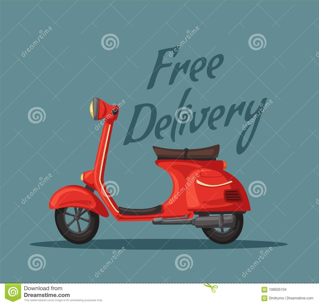 fast and free delivery vector cartoon illustration food service retro scooter stock vector illustration of food helmet 108505104 https www dreamstime com fast free delivery vector cartoon illustration food service retro scooter vintage style red bike banners posters image108505104