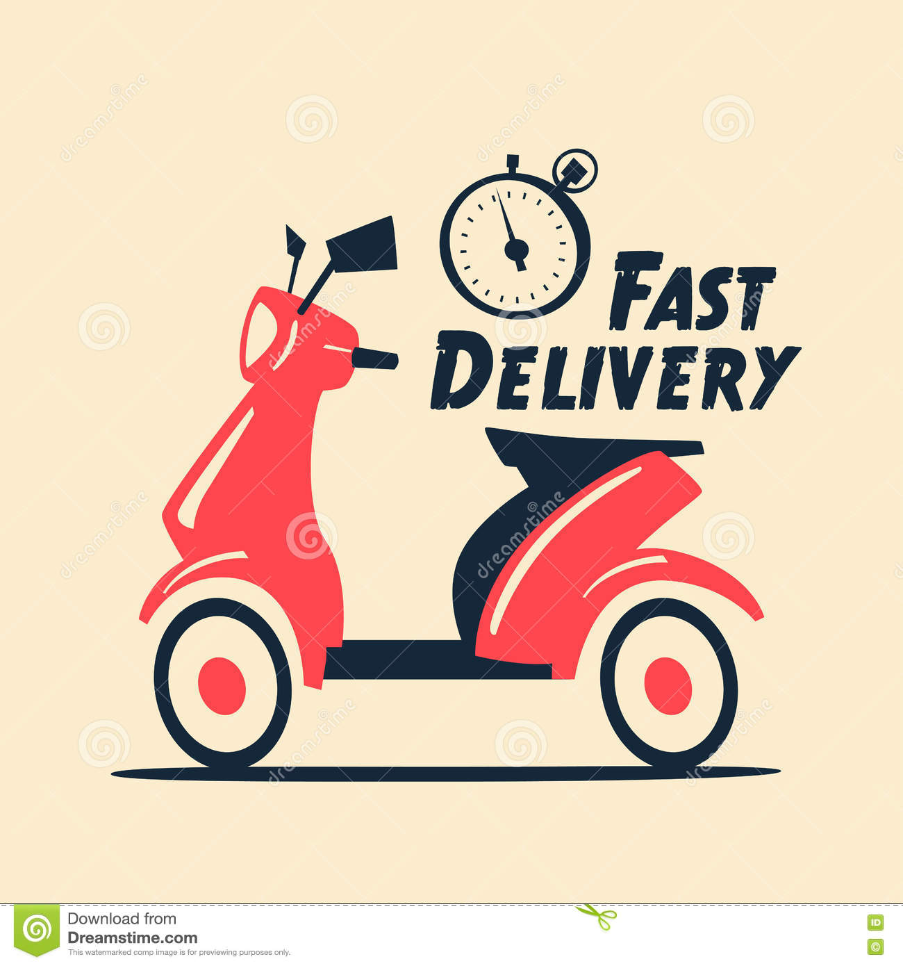 Fast And Free Delivery . Vector Cartoon Illustration. Stock