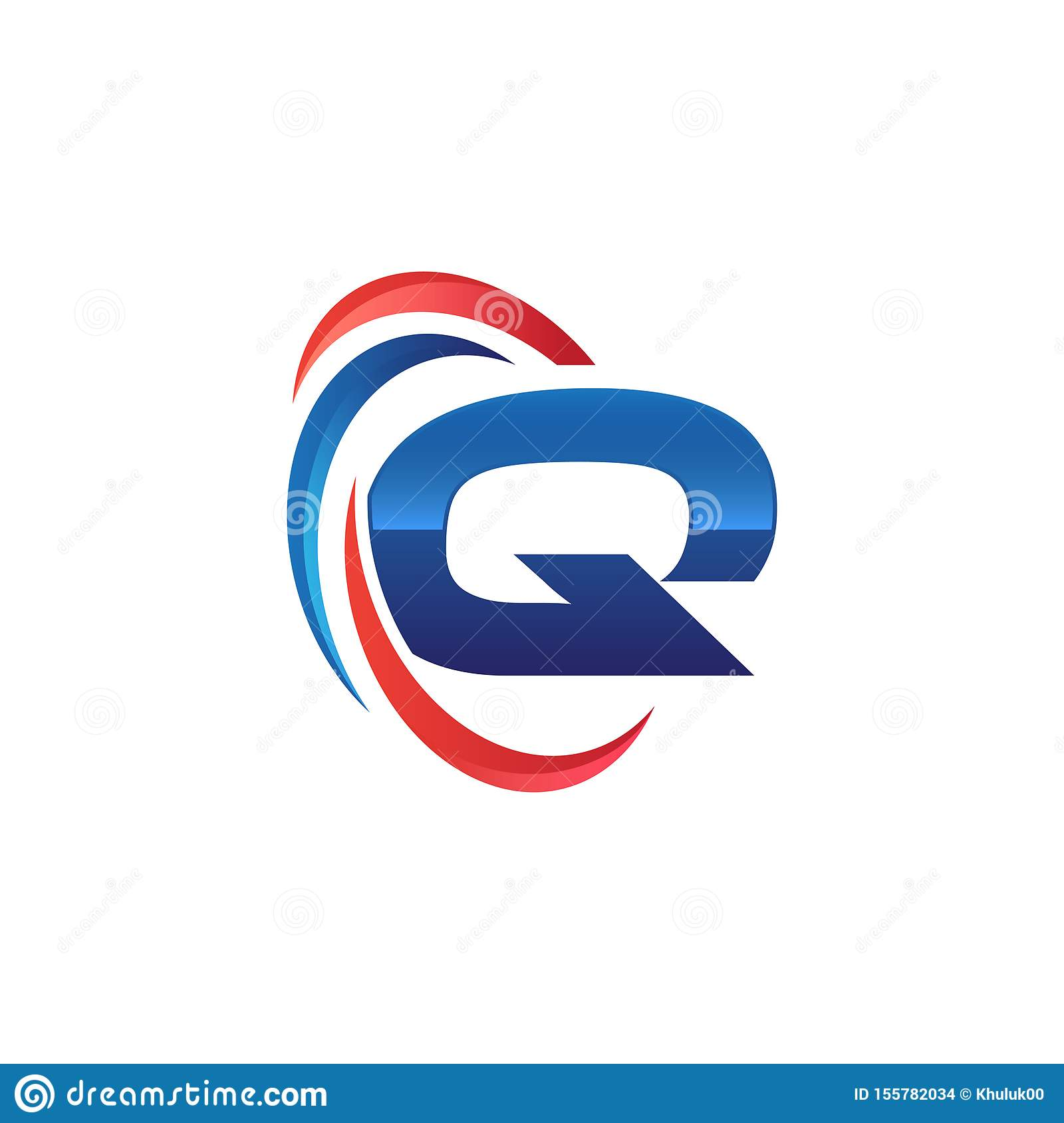 Initial letter Q logo swoosh red and blue