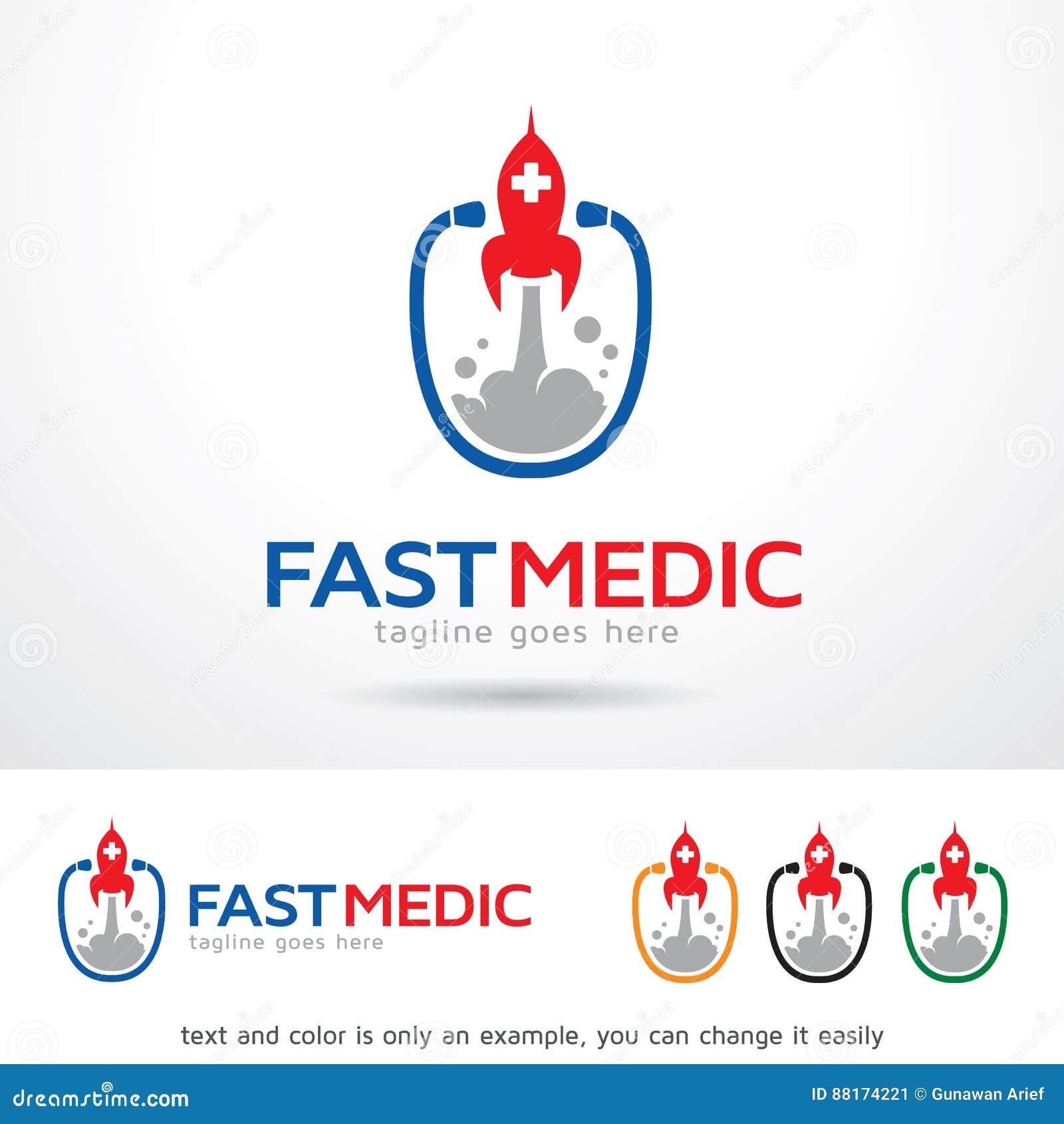 fast medic logo template design vector stock vector illustration
