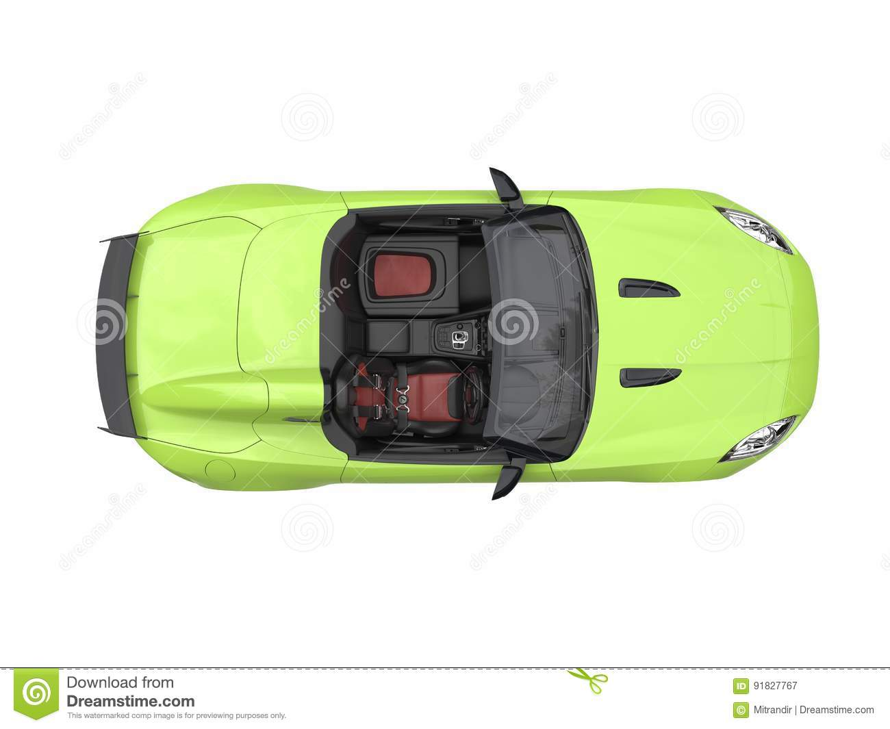 Fast Modern Crazy Green Convertible Sports Car Top View Stock