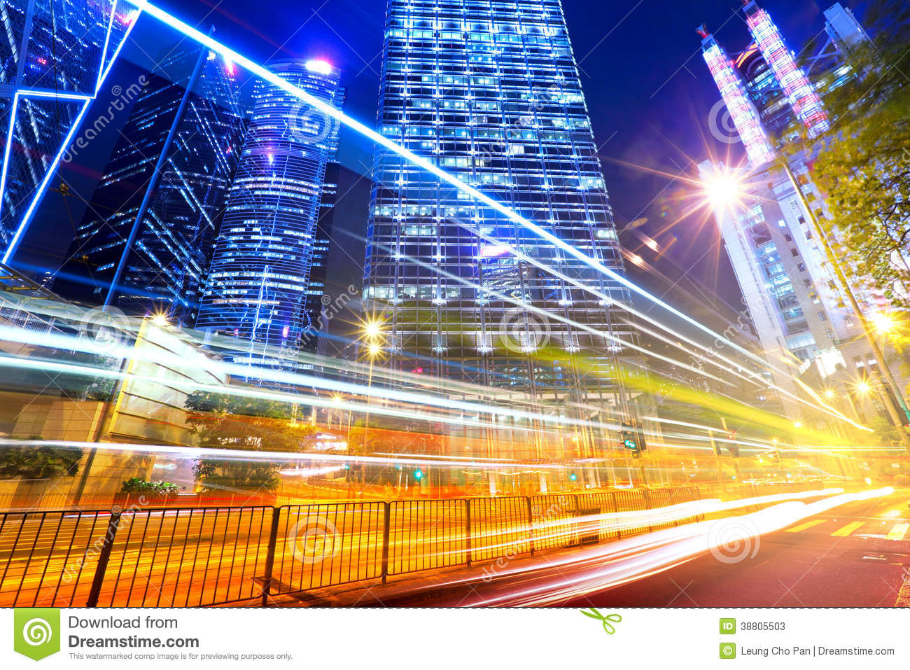 Fast Moving Car Light In City Stock Image