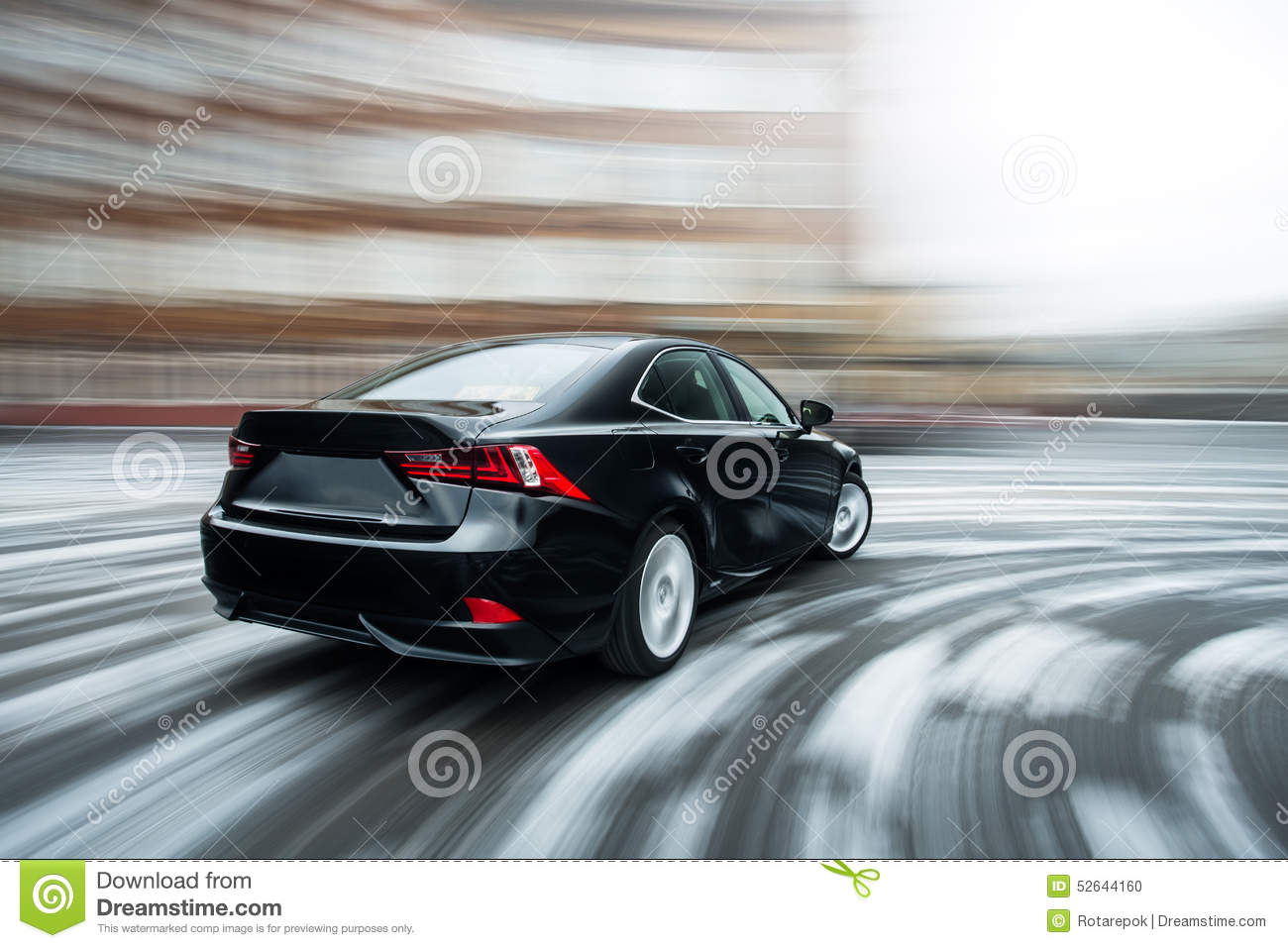 Fast Moving Car Winter Version Stock Photo