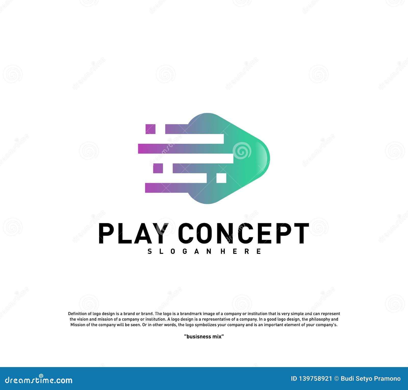 Fast Play logo design concept. Play tech logo template vector. Icon Symbol stock image