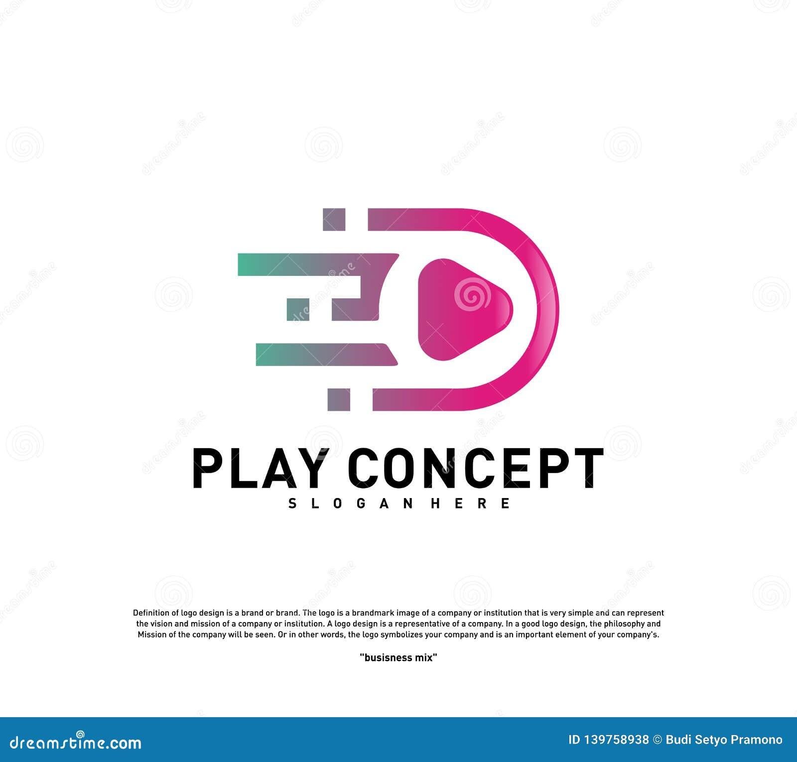 Fast Play logo design concept. Play tech logo template vector. Icon Symbol royalty free stock photos