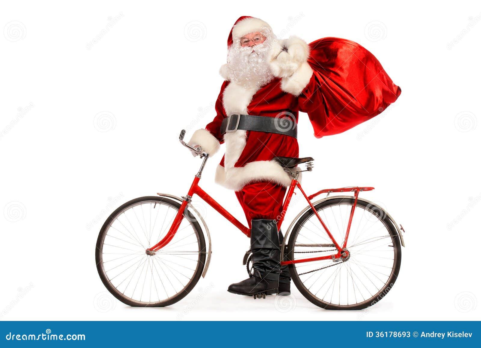 Santa Claus Rides The Bicycle Royalty-Free Stock Photo ...