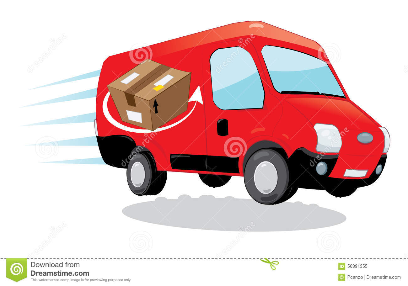 ... van running and delivering some packages- fast shipping concept