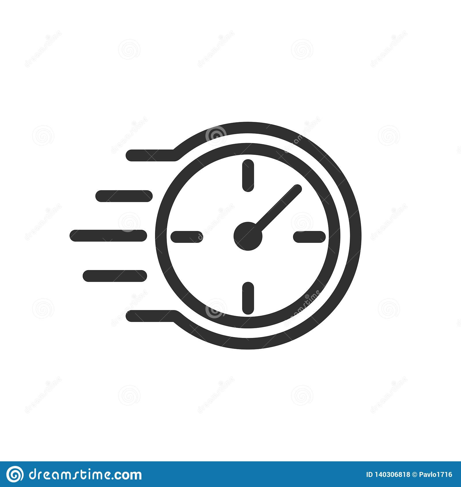Fast stopwatch line icon. Fast time sign. Speed clock symbol urgency, deadline, time management, competition – stock vector
