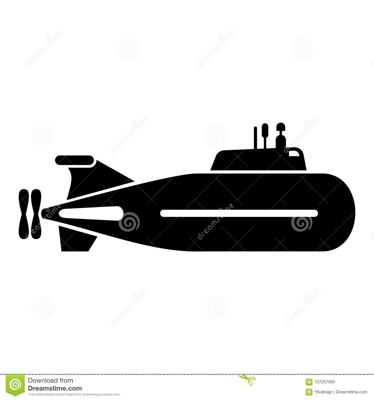 Fast Submarine Icon, Simple Style. Stock Vector
