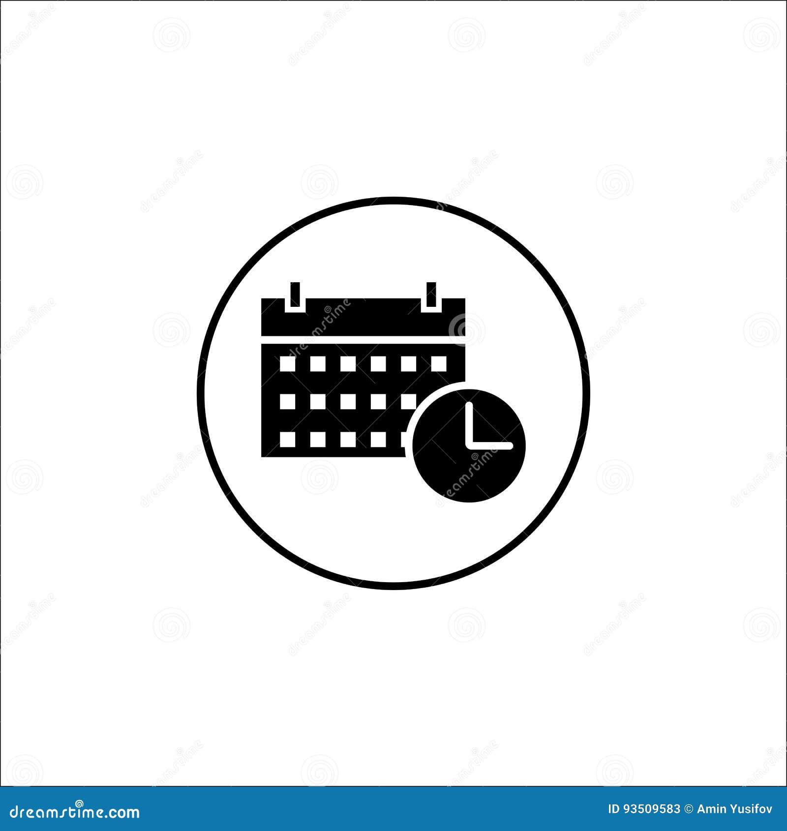 Fast symbol för datum och för tid, mobilt tecken och kalender