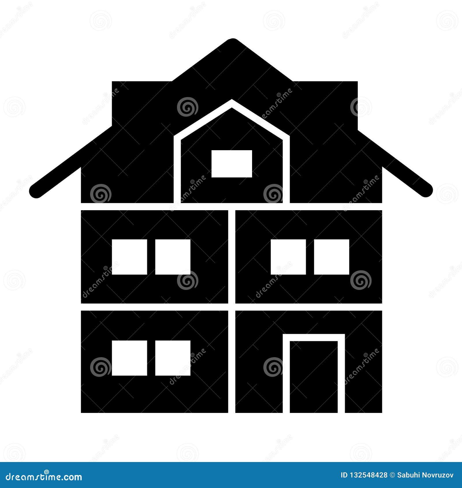Fast symbol för högt tre-berättelse hus Modern husvektorillustration som isoleras på vit Stuga med mansard skårastil