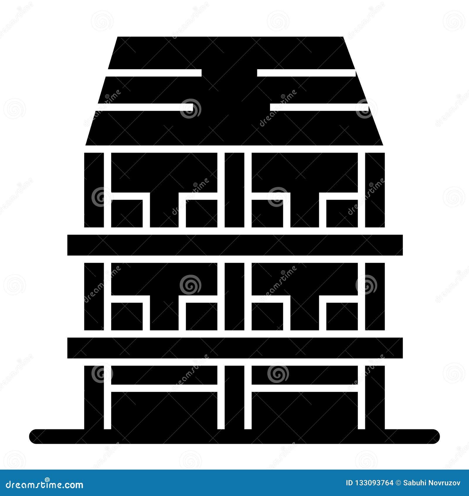 Fast symbol för Tre-berättelse hus Yttre vektorillustration som isoleras på vit Design för arkitekturskårastil som planläggs