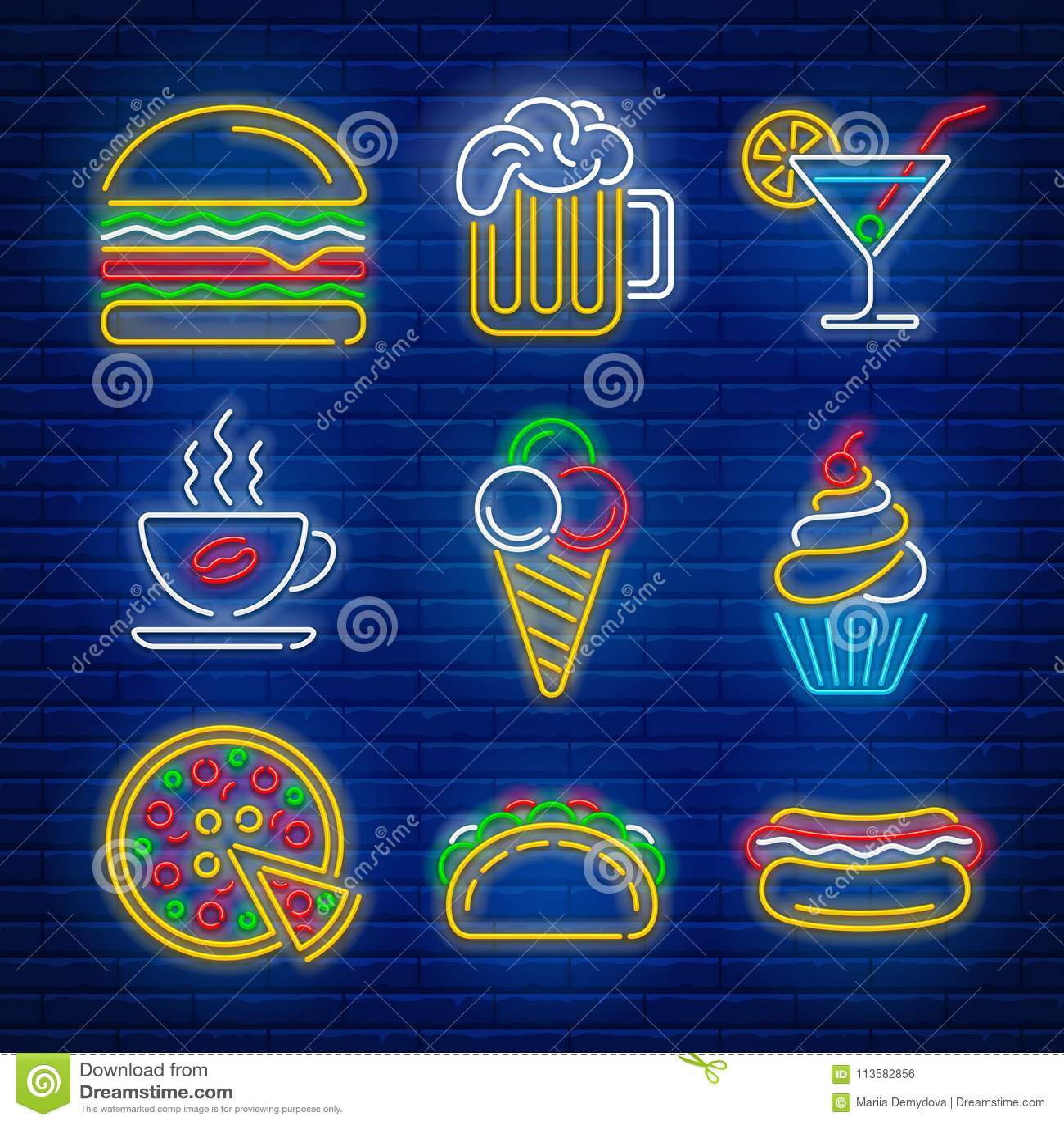 Fasta food i napoju neonowi znaki