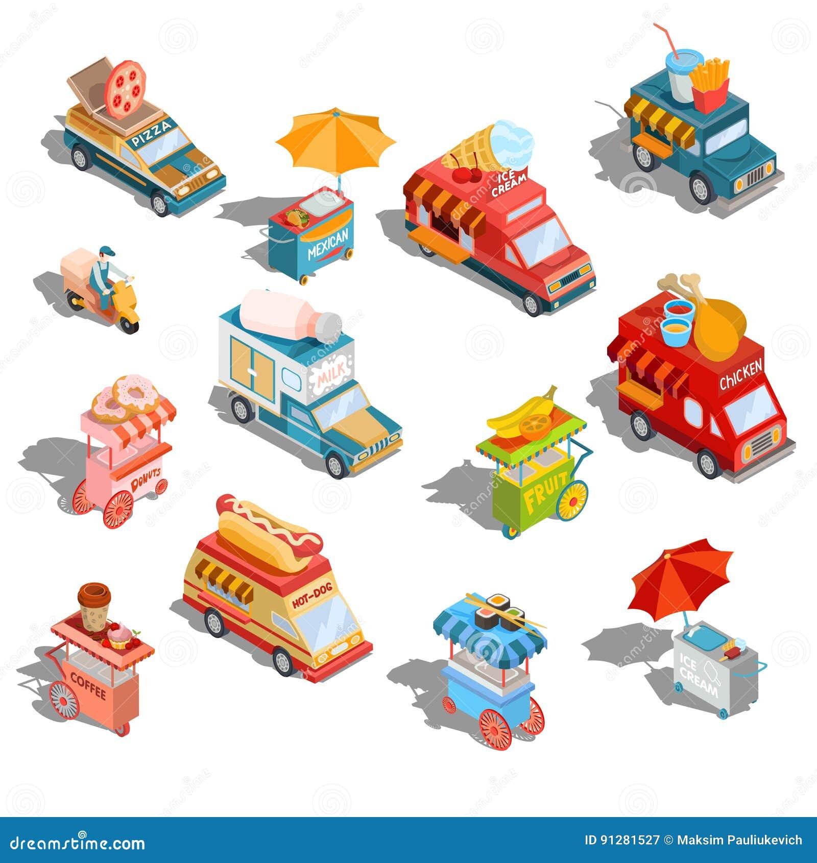 Fastar isometriska illustrationbilar för vektor leveransen av mat, och mat åker lastbil, gatasnabbmatvagnar