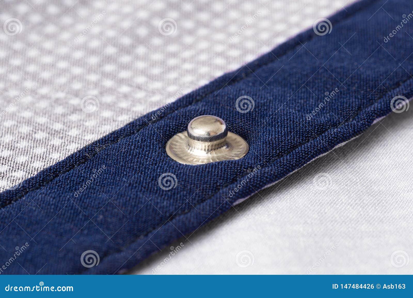 Fastener on shirt closeup