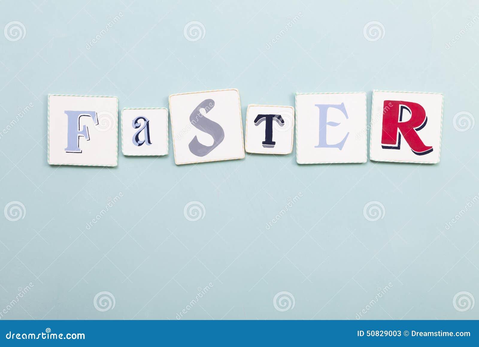 Faster signboard. Handwritten colors letters word. Light blue backgro