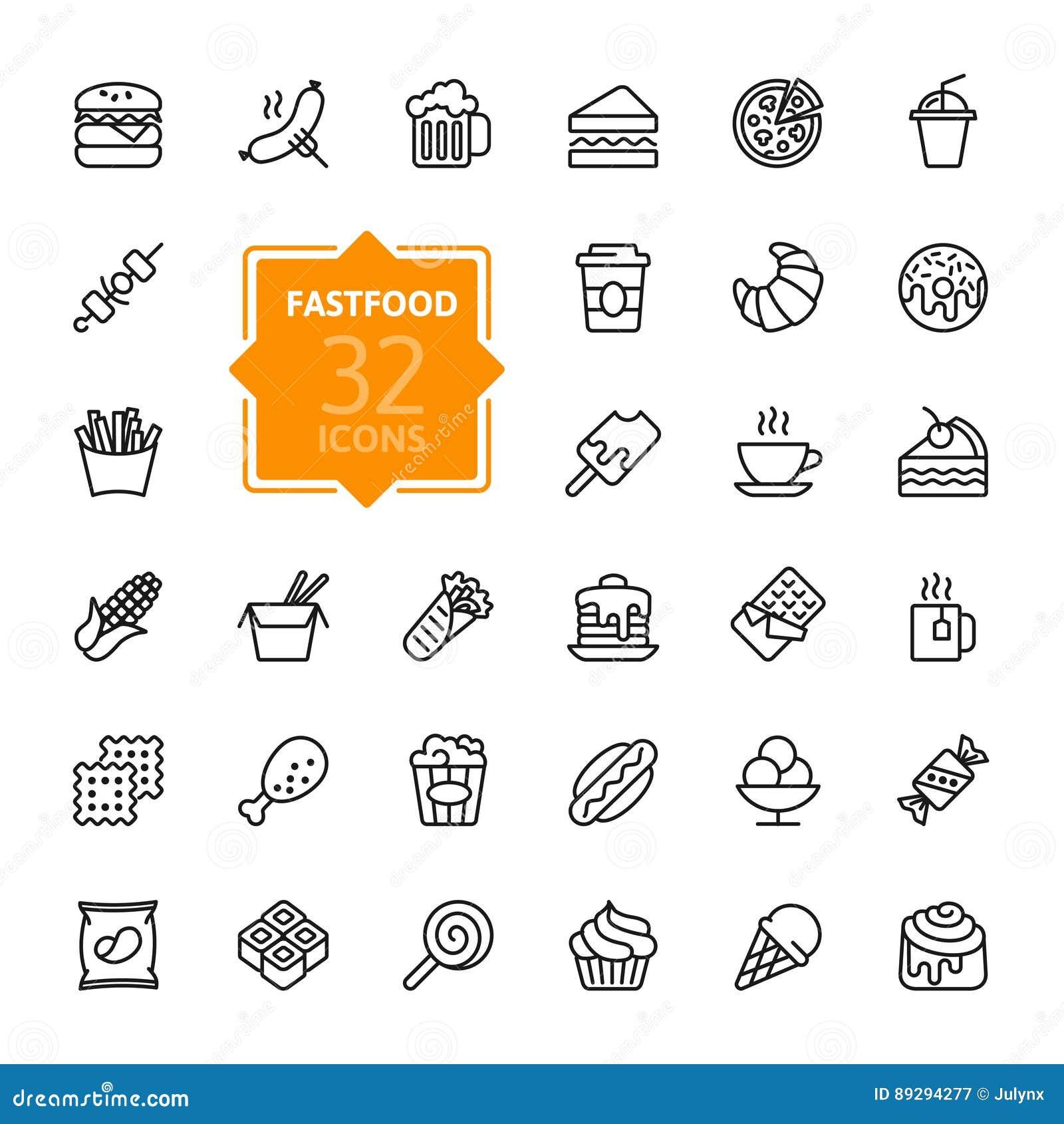 Fastfood - kontur ikony kolekcja, wektor