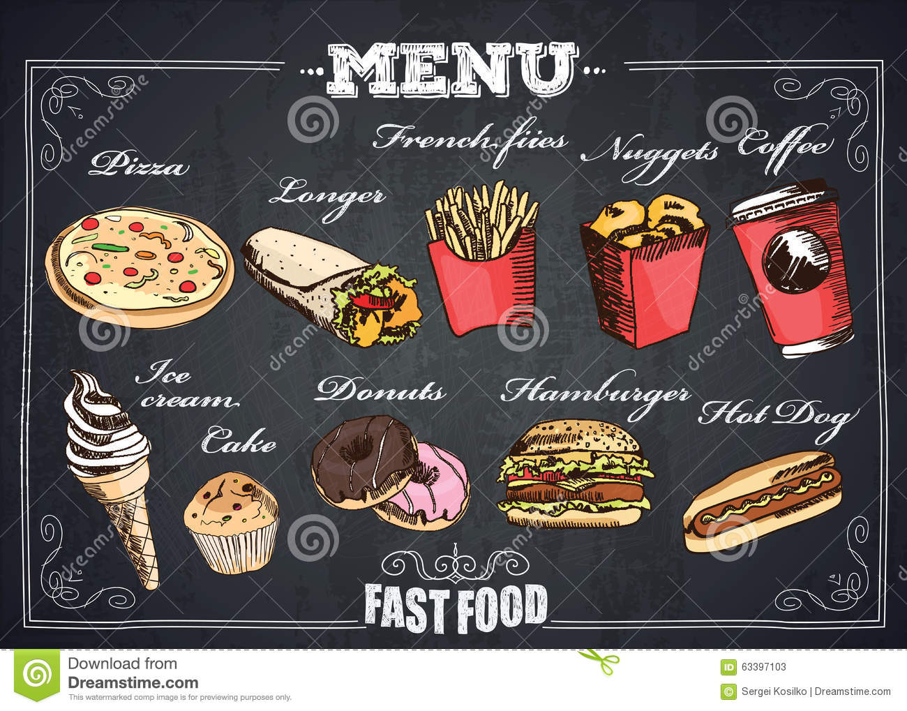 fastfood menu stock illustration image 63397103