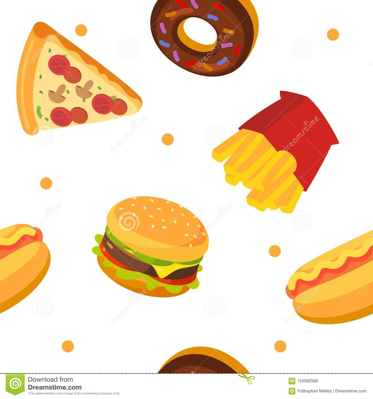 Fastfood Pattern Pizza Donut French Fried Hot Dog