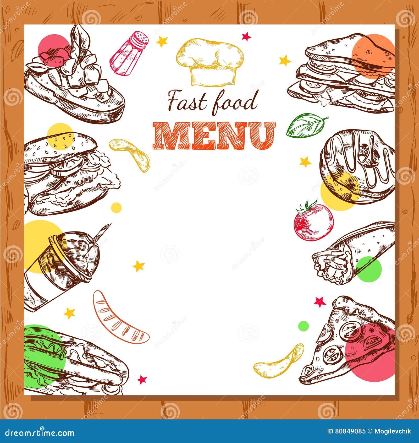 Fastfood Restaurant Menu Design Stock Vector Illustration Of Cover Creative 80849085