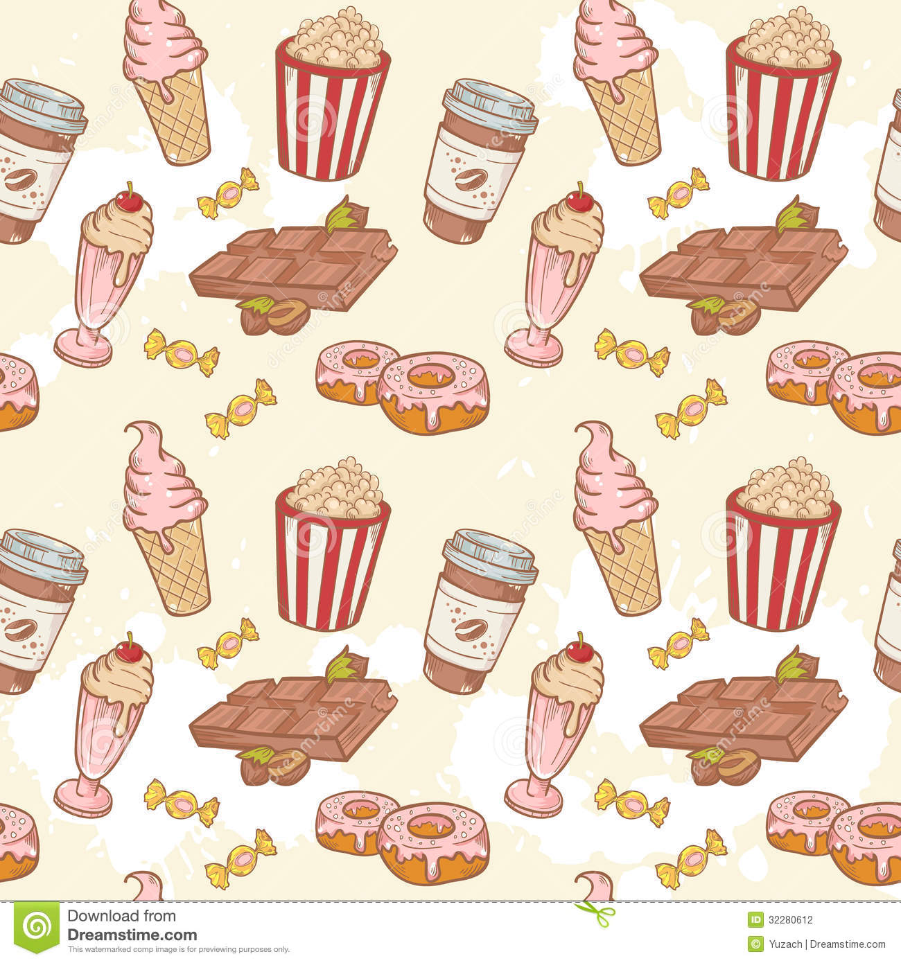 Seamless Pattern With Hand Drawn Watercolor Ice Cream: Fastfood Sweets Delicious Hand Drawn Vector Seamle Stock