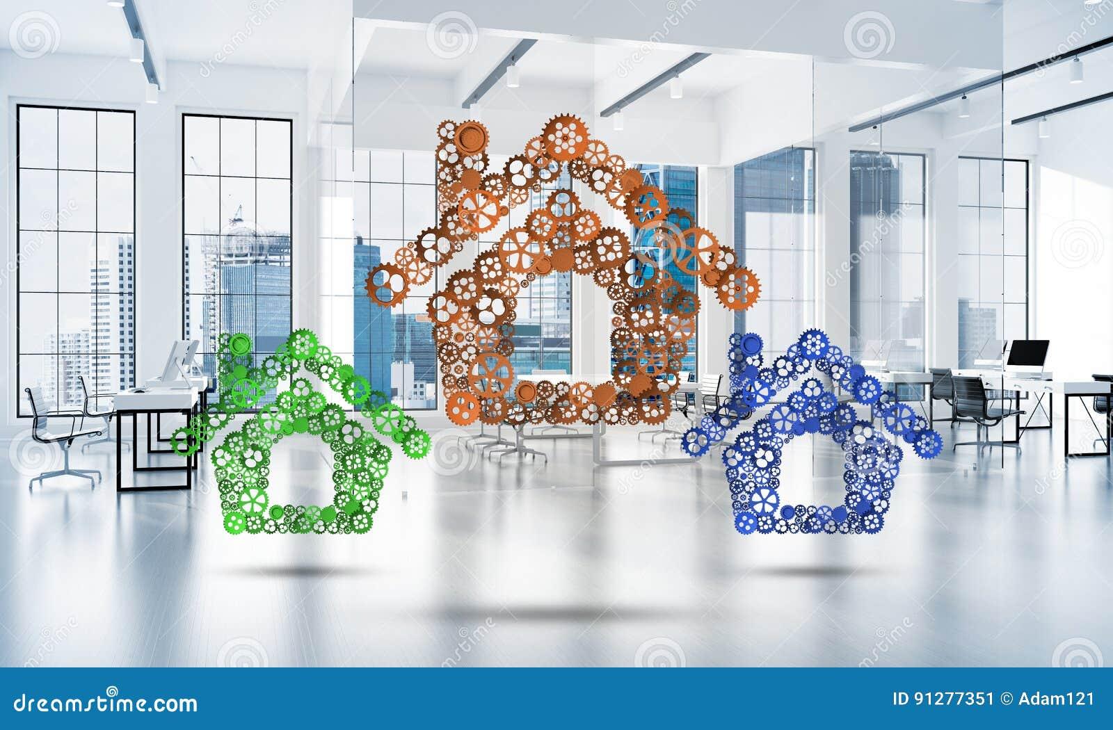 Fastighet- eller konstruktionsidé som framläggas av den hem- symbolen på vit kontorsbakgrund